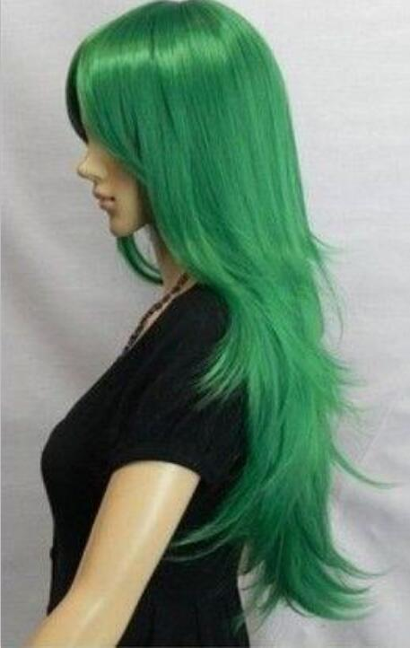 heat resistant Party cosplays hair TJ>>>Beautiful fashion newly listed companies have a new vertical green wigs(China (Mainland))