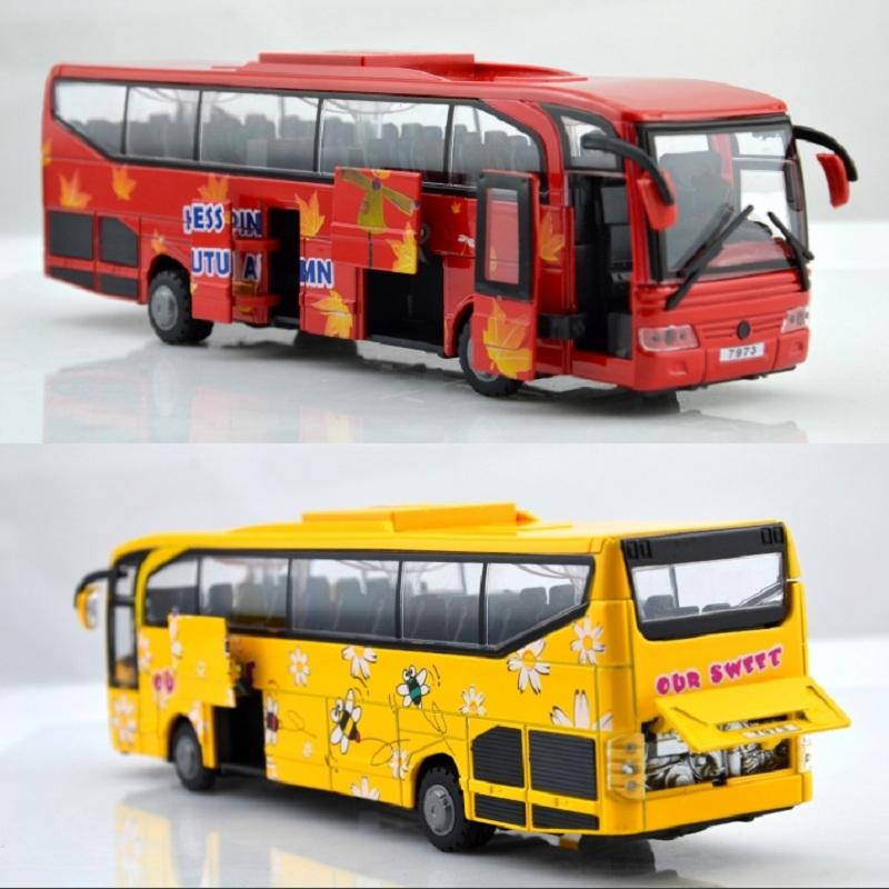 Toy car model metal car big bus school bus police car 5 acoustooptical open the door Christmas gift(China (Mainland))