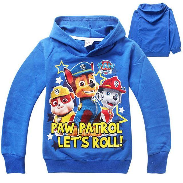2015 Новый стиль Paw патрульные одежда мальчиков майка хлопка с длинным рукавами мультфильм собака девушка дети футболки топ детской одежды