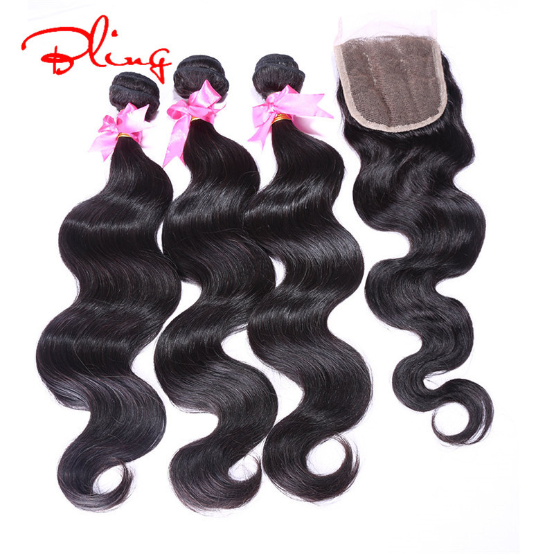 Ali Moda Malaysian virgin Hair Straight With Closure 4Pcs Human Hair bundles With closure Malaysian Straight Bundles Weaves