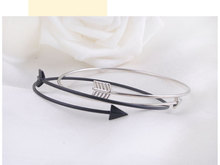 Simple Trendy Geometric Double Triangle Arrow Bangle Silver Black Bangles Fashion Jewellery Design Opening Men Women(China (Mainland))