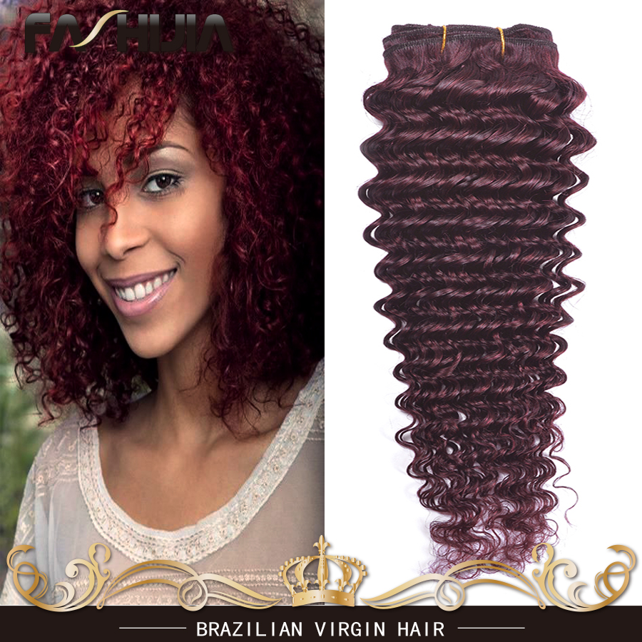 7A Red 99j Brazilian Remy Hair Deep Curly Hair Extensions 2 Bundles Colored Burgundy Hair Weft Red Brazilian Deep Wave 10-30<br><br>Aliexpress