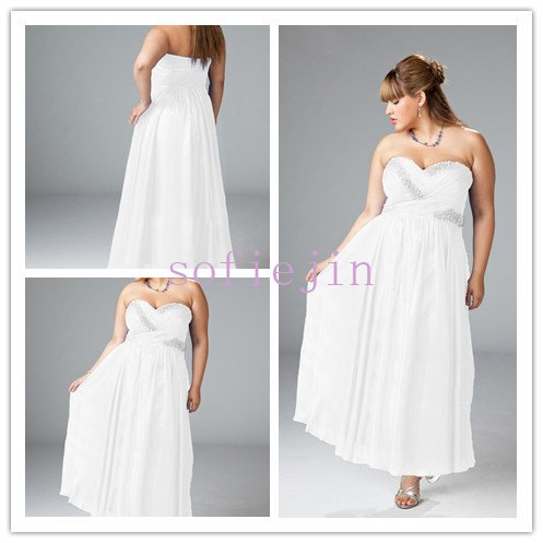 Elegant chiffon strapless sweetheart neck ankle length a for Wedding dress patterns plus size
