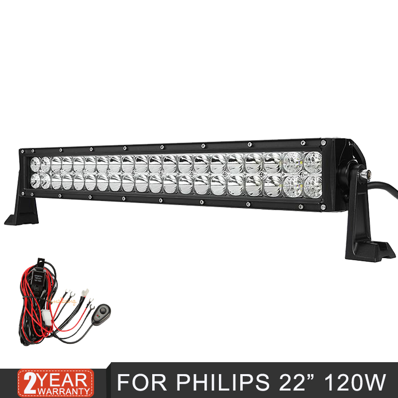 for Philips straight 22inch 120w Spot Flood Combo beam LED Light Bar for offroad trailer camper SUV ATV 4x4 LED Driving Lamp12V(China (Mainland))