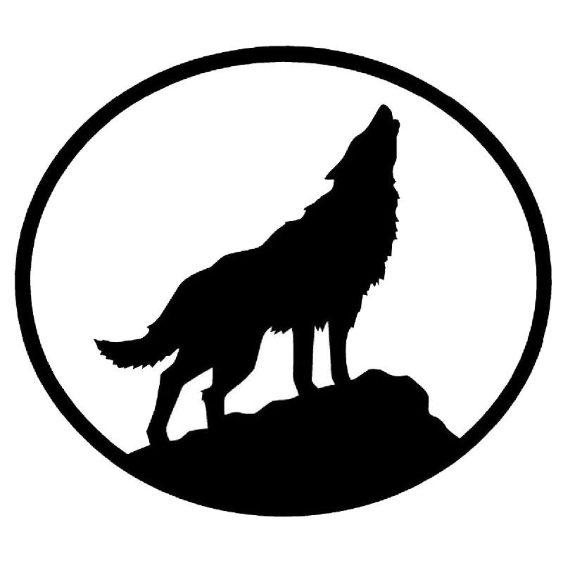 10.2*9CM Creative Howling Wolf Vinyl Car Fuel Cap Decal Wild Animal Car Styling Stickers Black/Silver C9-0839(China (Mainland))