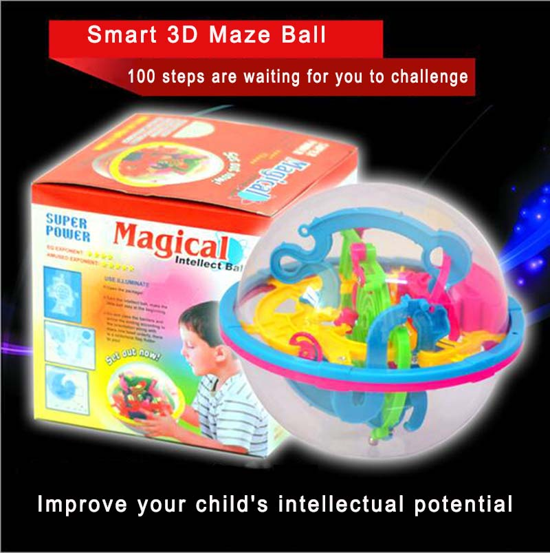 100 Steps Smart 3D Maze Ball Kid Children Intelligence Toy Magical Intellect Balance Logic Ability Puzzle Ball Educational Games(China (Mainland))