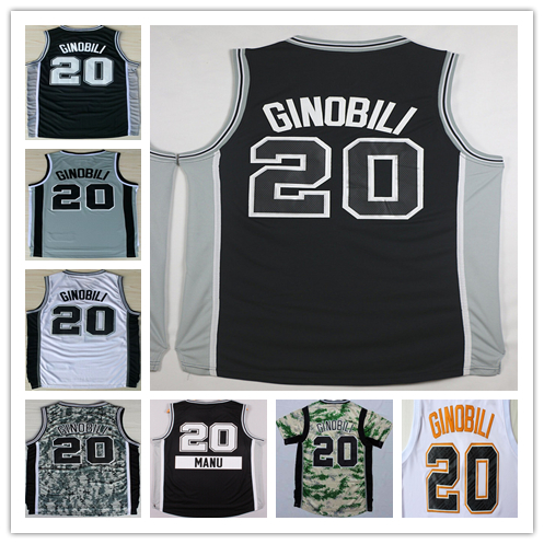 Cheap Wholesale #20 Ginobli Manu Jersey 2016 New Black White Gray Camo Men's Ginobli Manu Basketball Jerseys Free Shipping(China (Mainland))