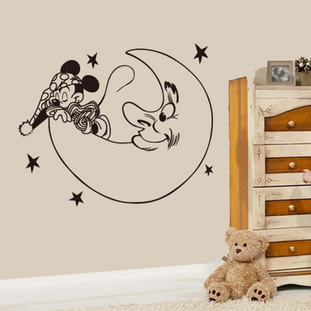 Creative New DIY cute Mickey Mouse moon goodnight wall stickers for kids rooms Mickey home decoration wall stickers