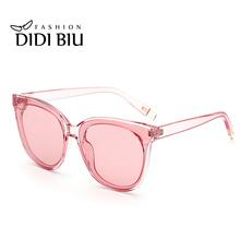 DIDI Korean Cat Eye Sunglasses Women Men Luxury Brand Designer Candy Color Vintage Transparent Sun glasses Coating Feminino W713(China (Mainland))