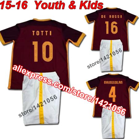 Youth & Kids 2015 16 Home Custom DIY Totti Pjanic De Rossi Football Kit Uniform Teenager Sports Shirt Children Soccer Jersey Set(China (Mainland))