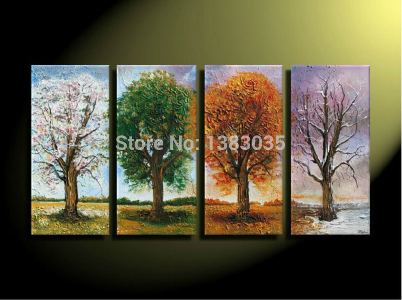 Hand painted 4 season art abstract tree painting canvas on for 4 season decoration