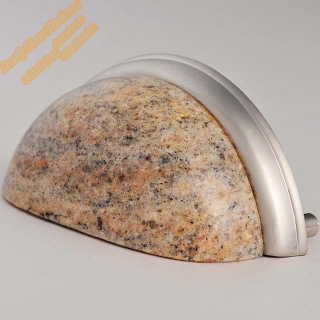 3 inch Kashmir Gold Granite Cup Handle,Natural Stone Cupboard Handles Drawer Pulls,Creative Kitchen Cabinet Hardware Selections