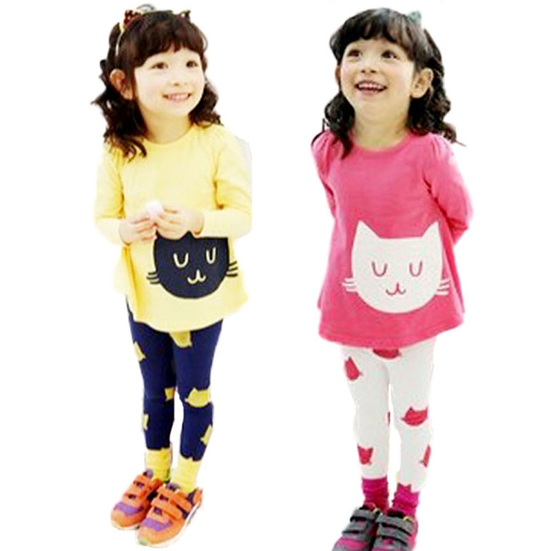 2Pcs Baby Girls Cartoon Cat Long Sleeve Cotton Dress T Shirt+Pants Trousers 2-7Y(China (Mainland))