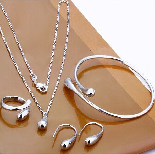 LOSE MOENEY! Wholesale Factory Price, Set S222 Silver Plated Waterdrop Jewelry sets Silver 925 Ring Necklace bangle and earring(China (Mainland))