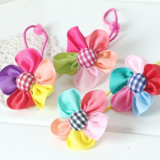 Colored flowers children baby girls hair accessories rubber bands barrettes girl headwear bow Retail wholesale Boutique SF-493(China (Mainland))