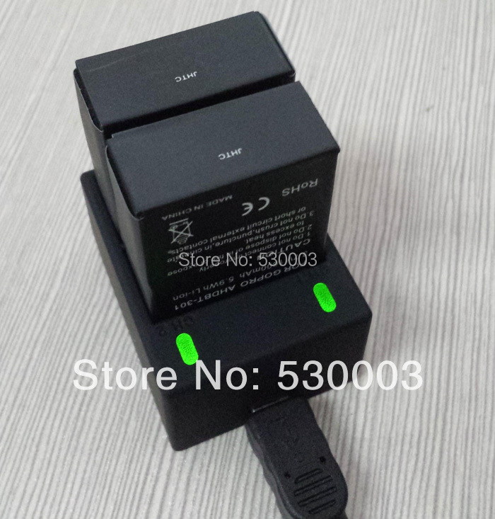 New arriver 2pcs 1600mAh AHDBT-301 201 gopro usb dual charger battery charger with for gopro hero 3 and hero 3 plus(China (Mainland))