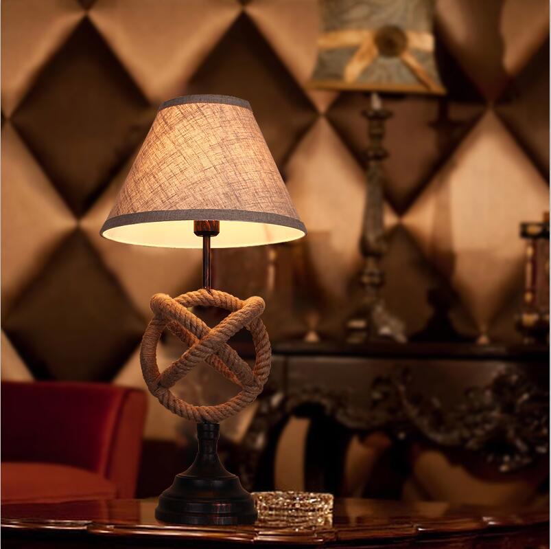 American Urban Table Lamp Scandinavian Bedside Light Antique Desk Lamp Decor Lamp Ropey Decor Table Lamp(China (Mainland))