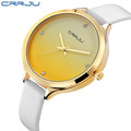 Luxury Brand CRRJU Ladies Fashion Quartz Watch Women Leather Casual Dress Watches Golden reloje mujer 2017