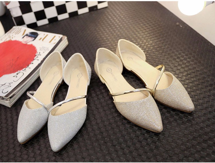 Fashion Hot Spring Summer Women Casual Sequins Pointed Toe Gold Sliver Loafers Flat Shoes a Pedal Lazy Women Singles Shoes Z4.5