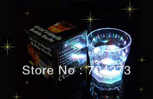 10pcs/lot Water Activated LED Light-Up blinking Flashing Rocks Glass Barware Lamp Wine Cup Whiskey Cup free shipping