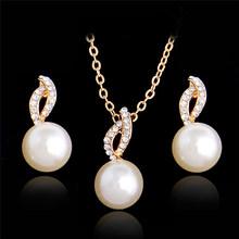 SHUANGR בציר חיקוי פרל שרשרת זהב תכשיטים לנשים צלול מפלגה מתנת אופנה תלבושות תכשיטי סט(China)