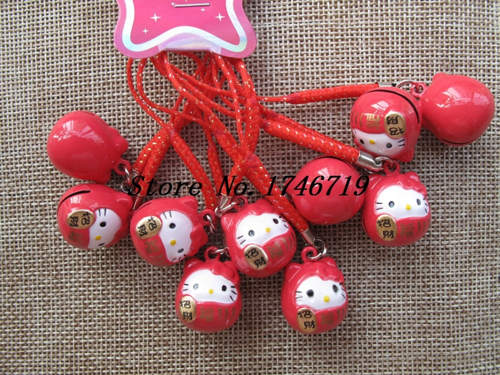 Free Shipping 50 pcs Lucky Cat Hello Kitty Pendant Cell Phone Charm Straps with Bell Cartoon Cell Phone Strap Bell Charm LM-11(China (Mainland))