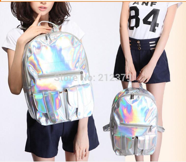 2 pieces Hologram Fluorescence Laser PU Backpack Jelly Design travel school bag 4 colors 28*40*13 cm<br><br>Aliexpress