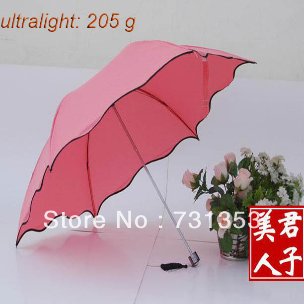 New Arrival Free Shipping Outdoor, Ultralight, Easy packed in the Bag, Best Umbrellas for Girls, Compact Three Foldings(China (Mainland))