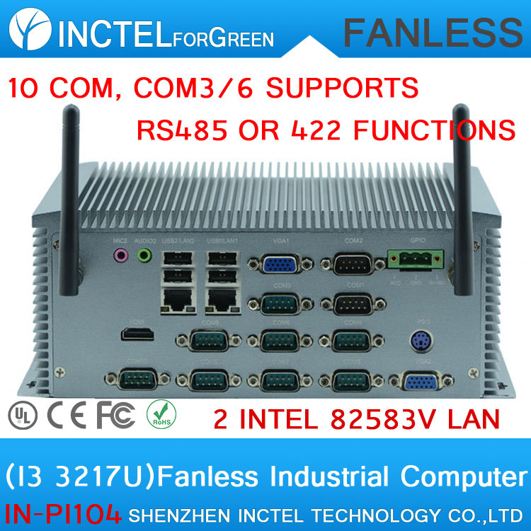 Manufacturers supply Core I3 3217U all aluminum fanless industrial computer IPC with 10 RS232 dual VGA support Watchdog 3G GPIO(China (Mainland))