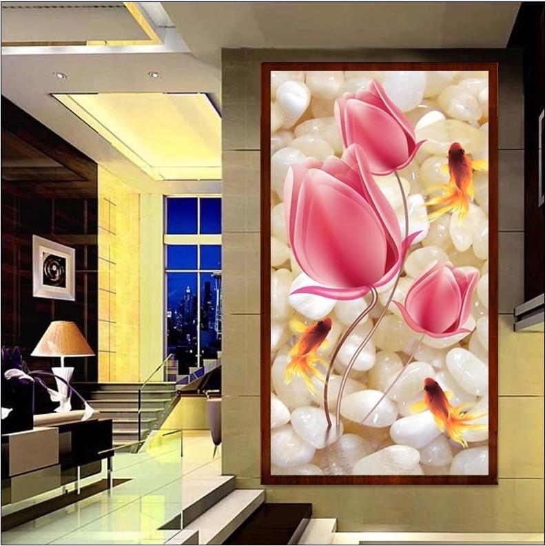 высокое качество 3d 40 * 80 см, картина diy полный смолы квадратных алмаз вышивка украшения тюльпаны Золотая рыбка крест стежка