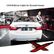 2PCS for Hyundai Sonata 8th 8 Generation Red Lens LED Rear Bumper Reflector Assemble Brake & Driving Lamp BackupTail Fog Lights(China (Mainland))