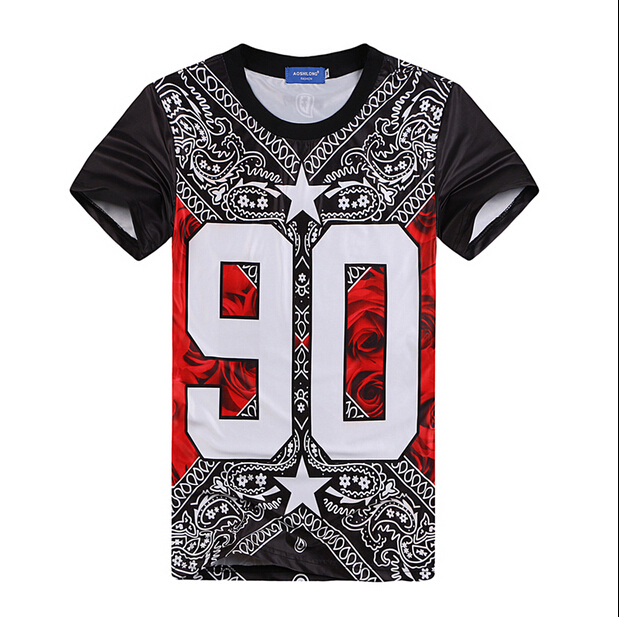 Hip-hop short sleeve T-shirt 2015 New flowers cashew national wind 90 roses print harajuku O-Neck men t shirt tee tops(China (Mainland))