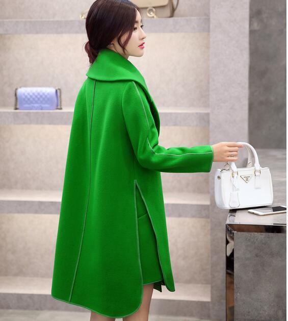 Мода! длинный Тонкий Осенью манто femme Шерстяные Пальто зимняя куртка женщины полноценно двусторонняя кашемир шерстяные Пальто женщин