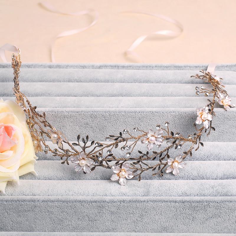 Handmade Gold Leaf Wedding Headpiece Bridal Headband Floral Hair Accessories Vintage Women Headbands Tiara(China (Mainland))