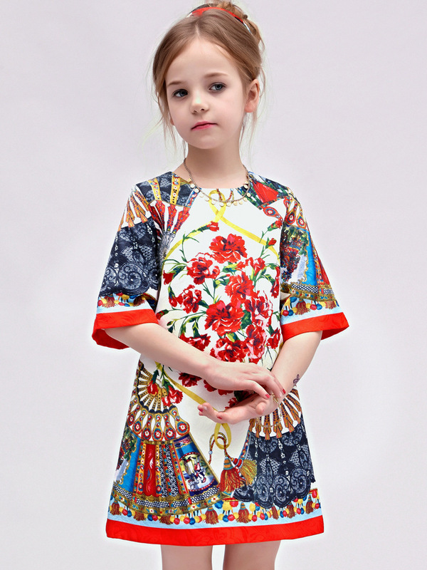 Milan Creations Girls Dresses Summer 2015 Brand Princess Dress Children Clothing Fan Print Girls Christmas Dress Kids Clothes(China (Mainland))