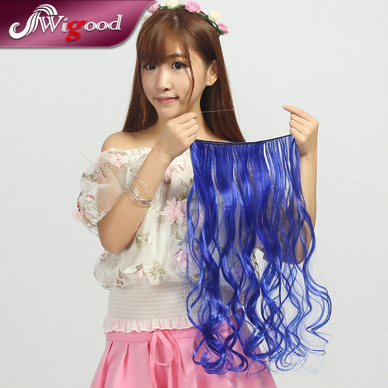 3PCS/Lot 2015 New Design Fish Line Hair Extensions Wavy Synthetic Hair Extensions45CM Rainbow Hairpiece Skin Weft Hairextension(China (Mainland))
