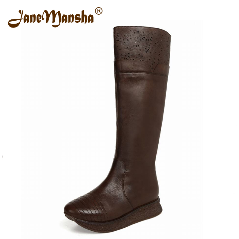 JaneMansha Knee High Boots Western RETRO Cut-Outs Pointed Toe Side Zip Stitched 3.5CM Wedges Platform Winter Boots Women RWB078(China (Mainland))