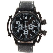 Oulm 1357 Male cuarzo reloj de pulsera con dos números horas Marks Dial redondo banda de cuero relojes de pulsera