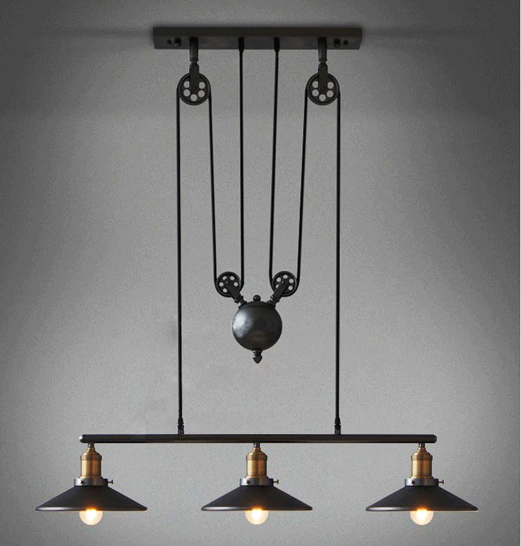 3 Heads Lightings Retro Iron Pulley Pendant Lights Loft American Vintage Industrial Pulley Rope Antique Edison Pendant Lamps<br><br>Aliexpress