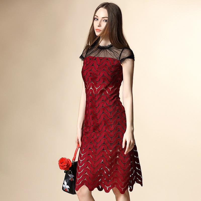 2016 Spring And Summer Self-portrait Soluble High Quality Stitching Floral Dress Chiffon Dress  Kurze Abendkleid Dress England