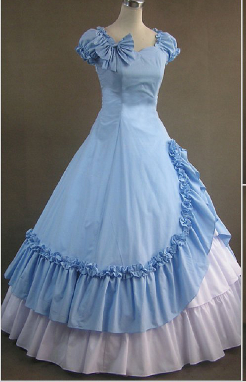 light blue ruffle bowknot lolita ball gown adults Medieval dress Renaissance gown Sissi princess Victorian Belle