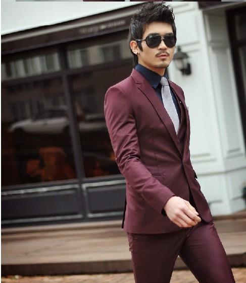 slim men suit set Brand Fashion Bridegroon Men's Business wine red Suits Blazer,S-3XL Jackets+Pants(China (Mainland))