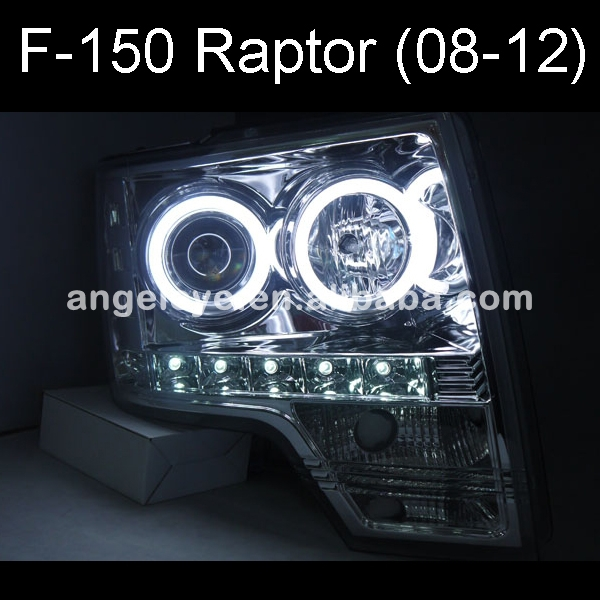 FOR FORD Raptor F150 CCFL Angel Eyes Headlights Chrome housing 2008 TO 2012 Year SN(China (Mainland))