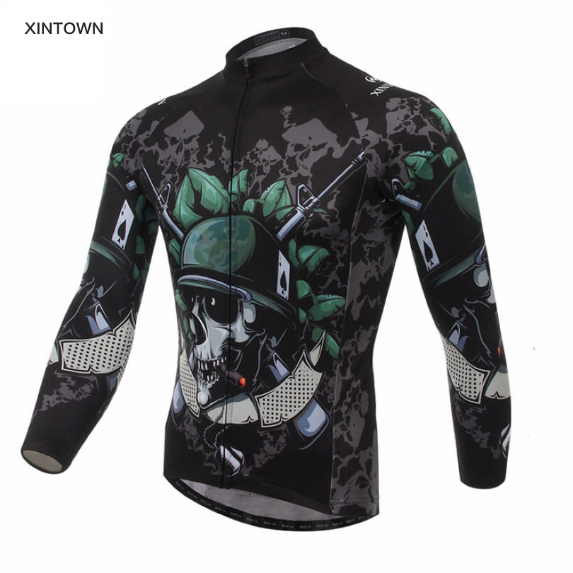 Promotion ! 2016 XINTOWN Men's Team Skeleton Soldier Long Sleeve T-shirt Shirt Bike Bicycle Riding Top Cycling Jersey