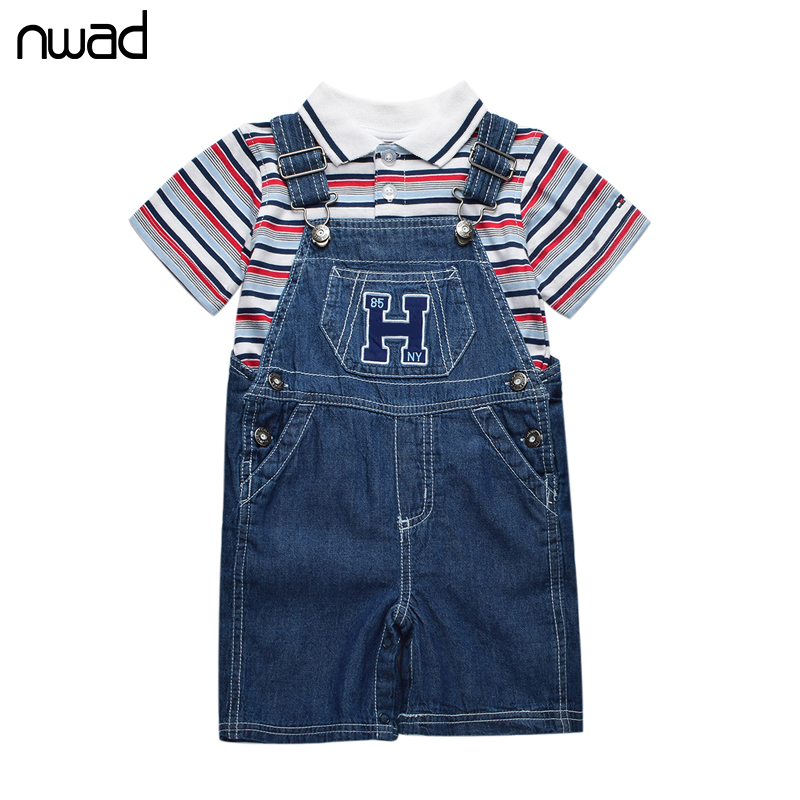 Summer Baby Boy Clothing Set 2016 Brand Newborn Baby Sttriped Clothes Suit Top + Suspenders Denim Trousers Infant Clothing FF091(China (Mainland))