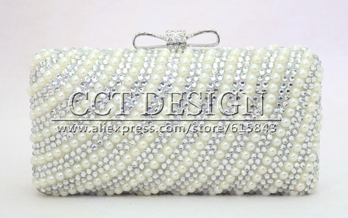 hand-made 2015 New arrival two Chains Women rhinestone and Pearl Evening Bag Clutch Gorgeous Bridal Wedding Party handbag<br><br>Aliexpress