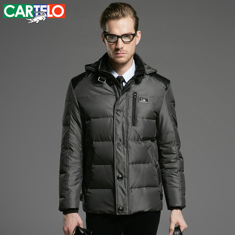 CARTELO/Brand 90% Duck Business Fine Grid Slim Middle-aged Men Down Jacket S-XXXL Middle Long Sections Thicker Coat For Men(China (Mainland))