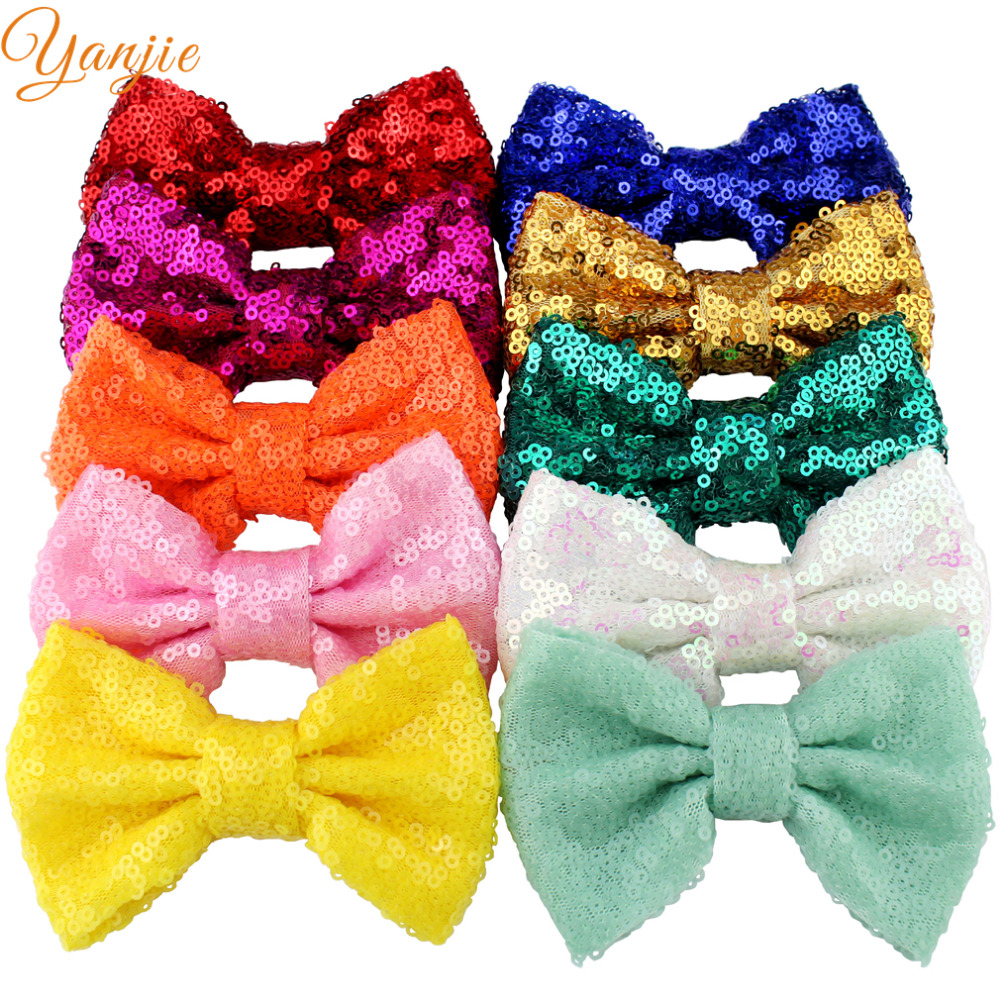 """10pcs/lot 33colors 4"""" Glitter Messy Sequins Knot Bow Gold/Silver For Girls DIY Hairbow Headband Headwear Hair Accessories(China (Mainland))"""