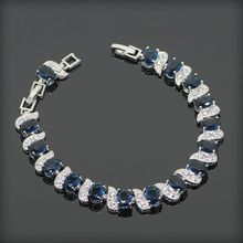 High Quality Trendy Blue Sapphire White Topaz Sterling Silver Bracelets For Women Length 7+1 Inch Free Gift Box&Free Shipping(China (Mainland))