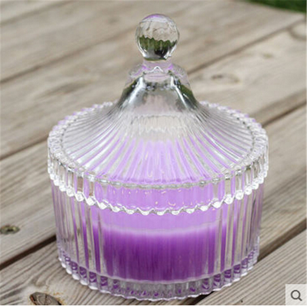 clear glass jar with glass lid wax glass candle(China (Mainland))